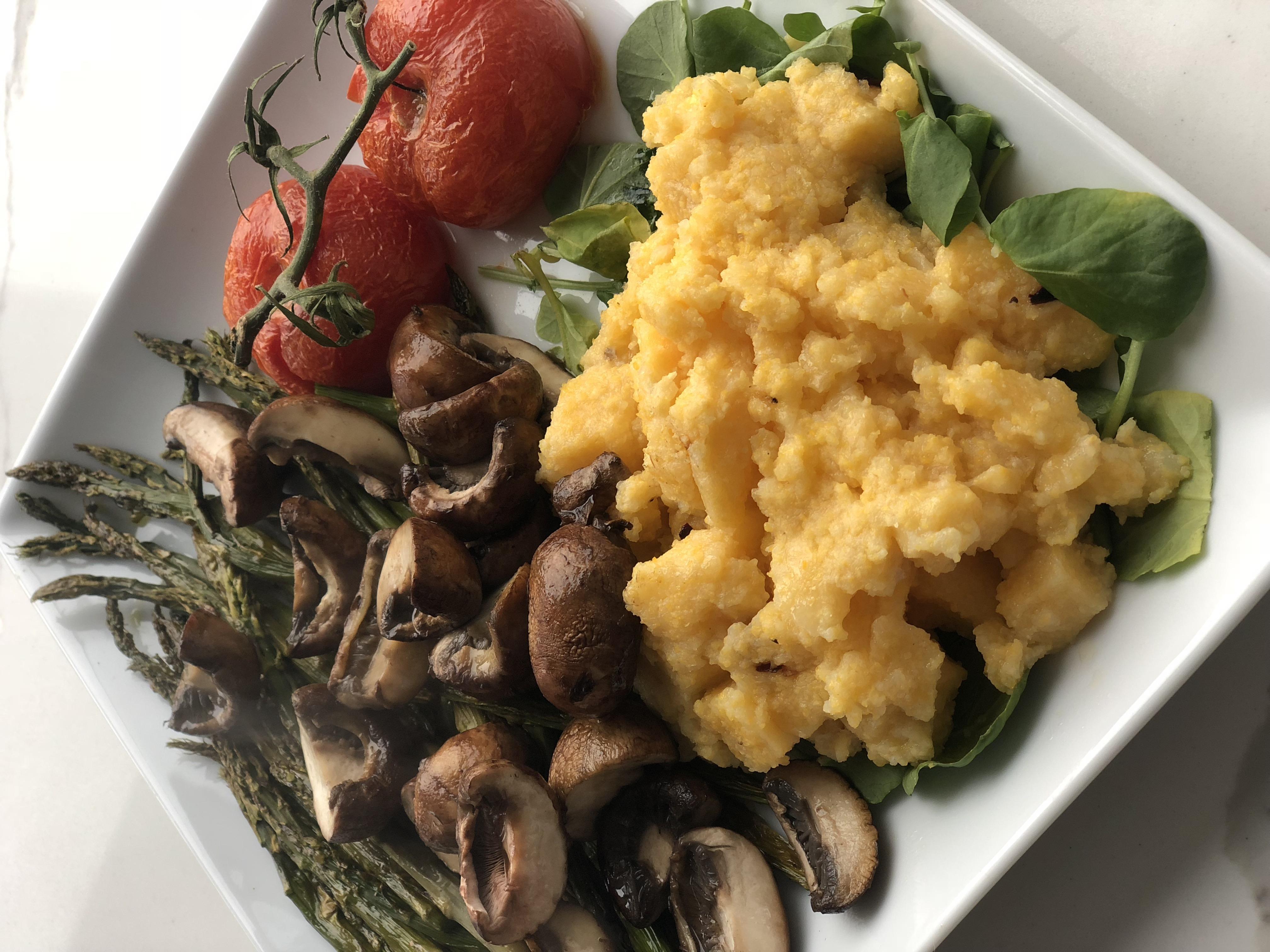 Parmesan Polenta with Roasted Tomatoes and a Mushroom Ragu