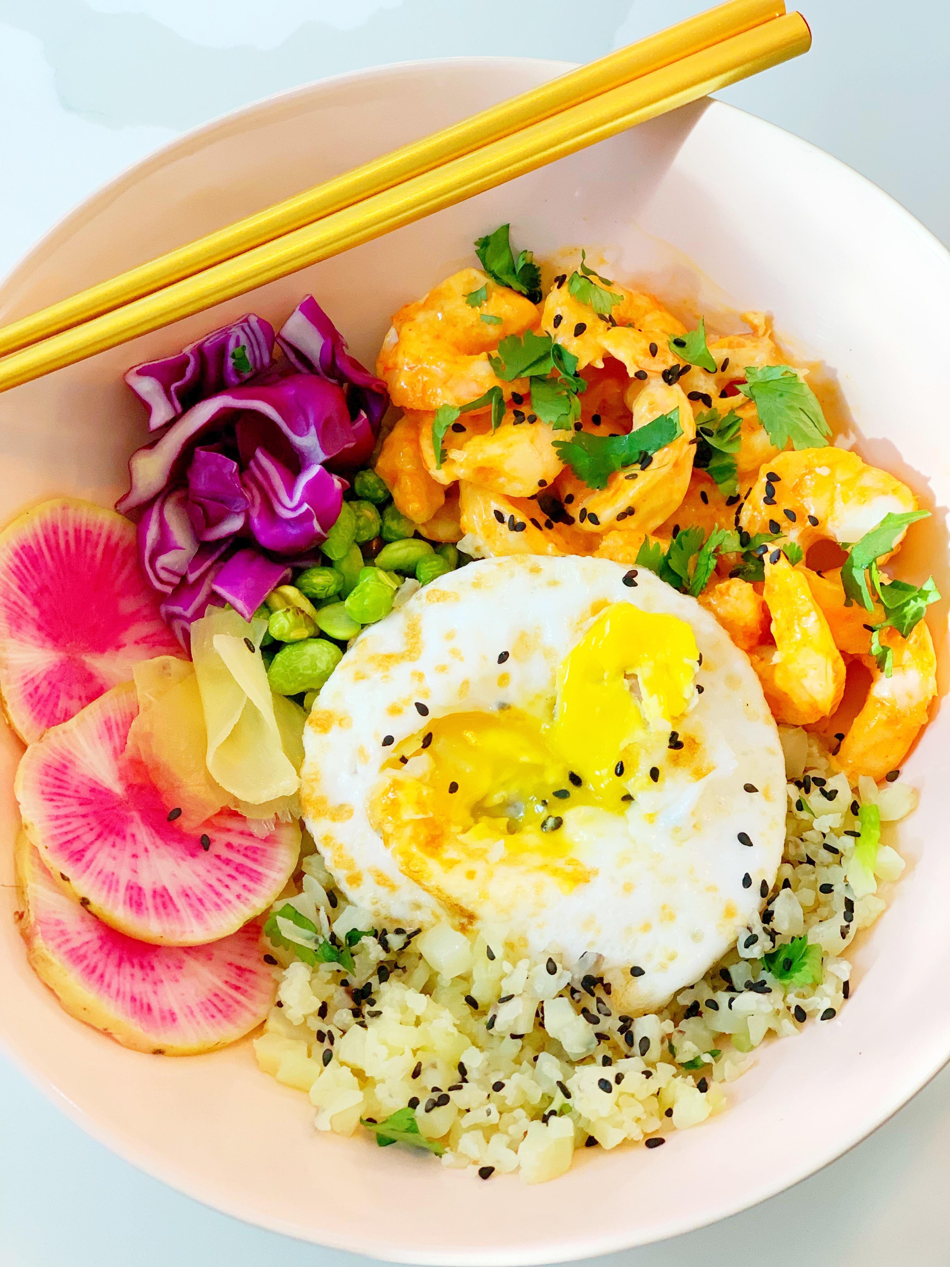 Spicy Shrimp + Cauliflower Rice Bowl